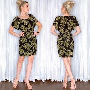Black Gold Pattern Mini Dress by Elle